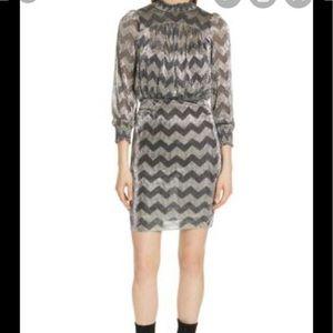 BA&SH Goldy Zigzag Metallic Stripe Dress